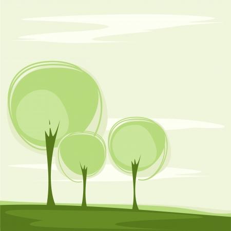양식에 일치시키는 나무와 카드 일러스트