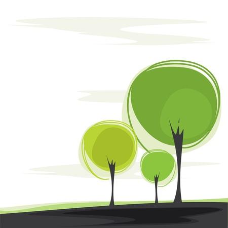 tarjeta con los árboles estilizados