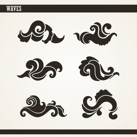 Set of abstract silhouettes wave