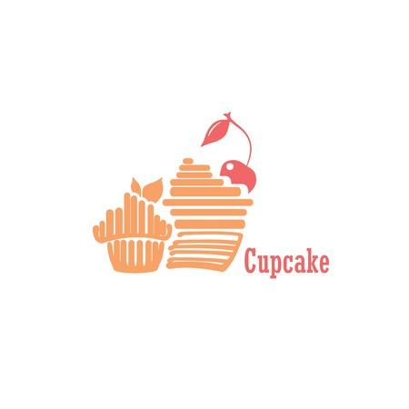 Stylized cupcake with cherry