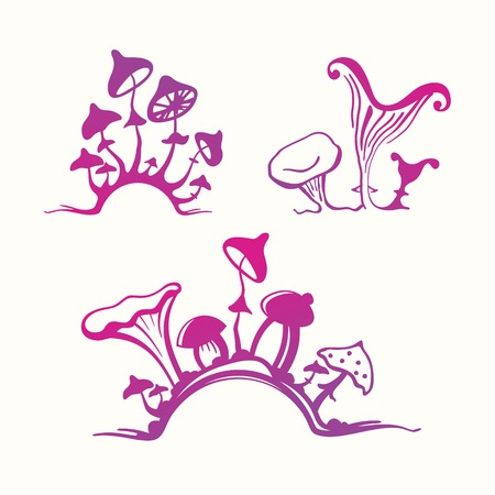 Set of stylized mushrooms
