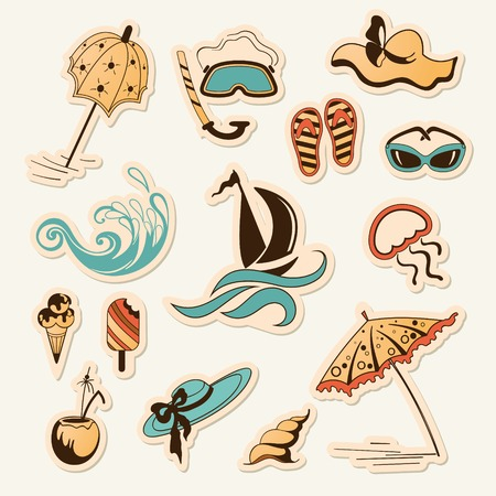 vector illustration of collection of sea beach object Vector