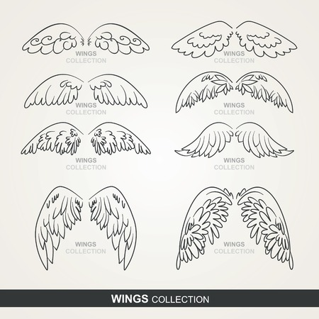artificial wing: stylized wings Illustration