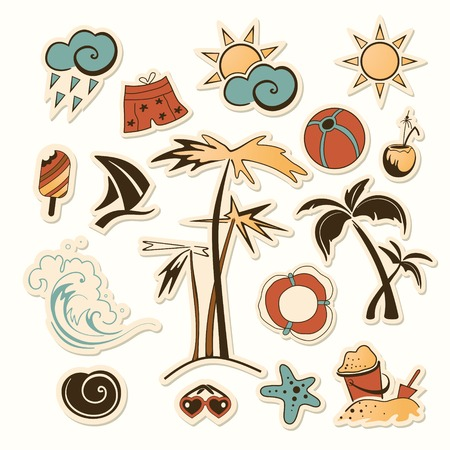 Collection of sea beach object Vector
