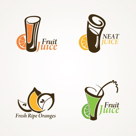 fresh juice: Fruit juice symbols - vector illustration Illustration