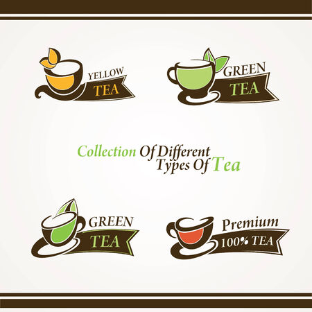 Set of different symbols tea