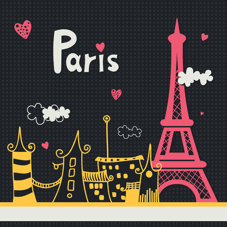Paris card design. Vector illustration Illustration