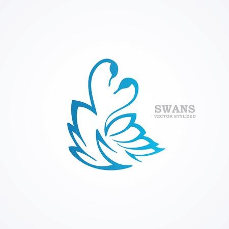 様式化された青い白鳥の描画