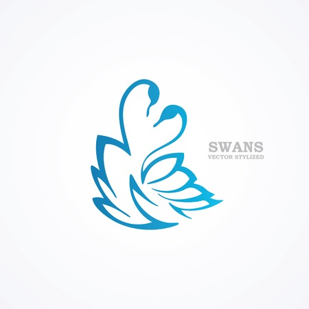 Drawn stylized blue swans Vector