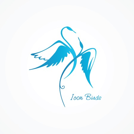 Drawn stylized blue swans