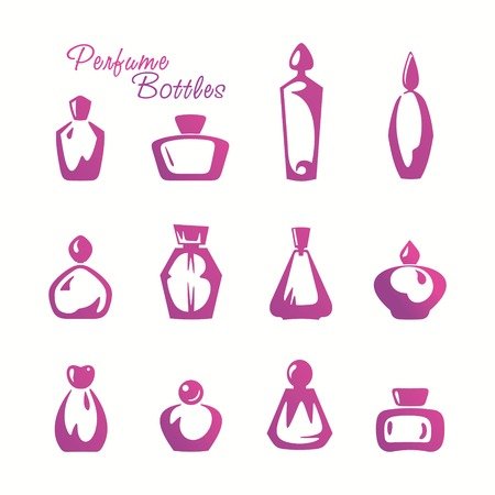 Collection of stylized perfume bottles Vector