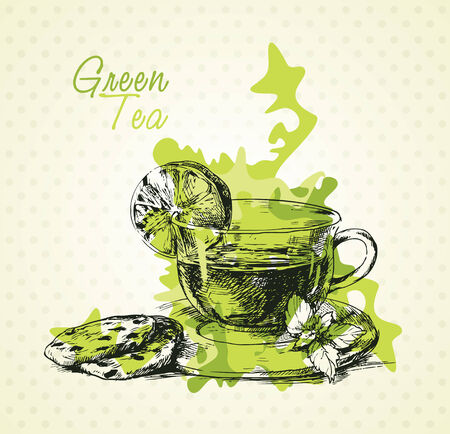 chamomile tea: Hand drawn green tea with lemon, mint and biscuits