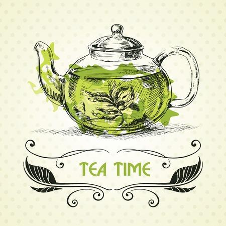 Kettle green tea  Hand drawn sketch illustration