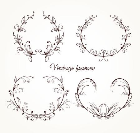 Collection of different vintage frames Illustration