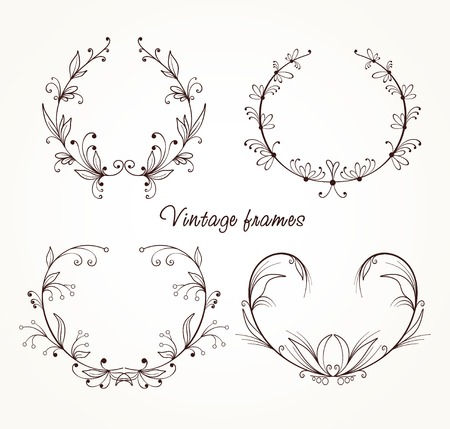 Collection of different vintage frames 일러스트