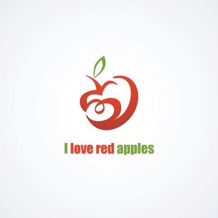 Stylized red apple icon  heart