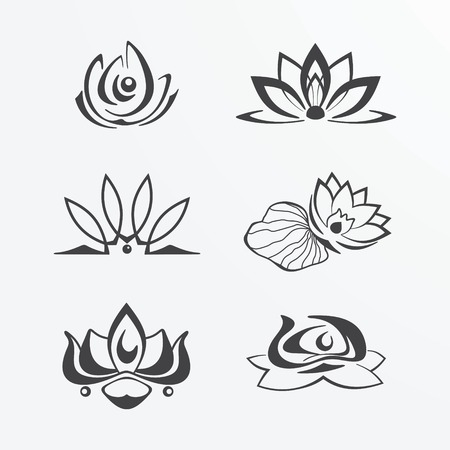 outlines: Collection of stylized lotus