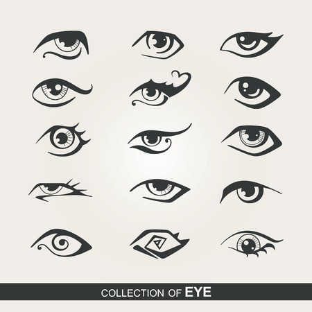 eye shadow: Collection of stylized eye for design