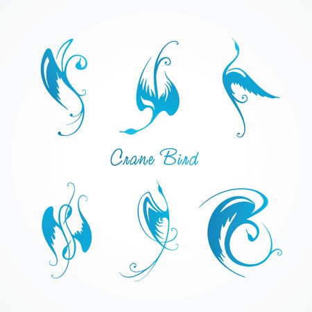 Collection of stylized blue abstract cranes Vector