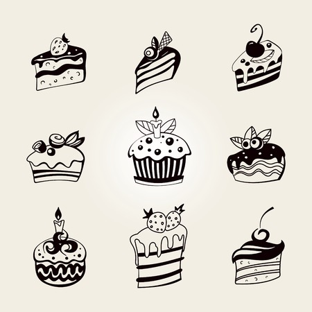 Set of stylized cute cupcake Ilustrace