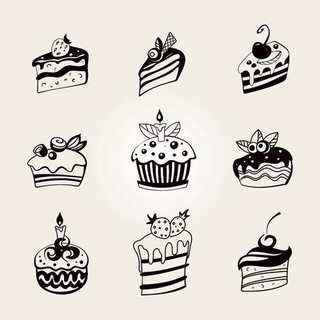 Set of stylized cute cupcake Illustration