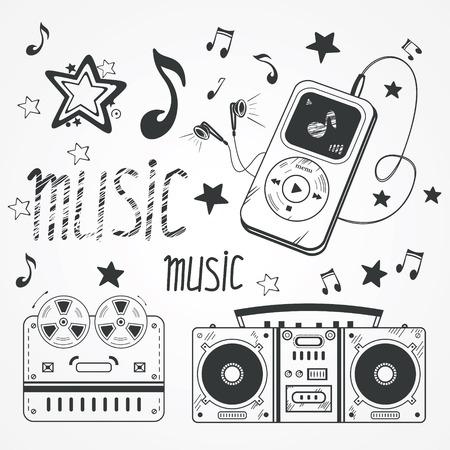 Set of stylized musical elements