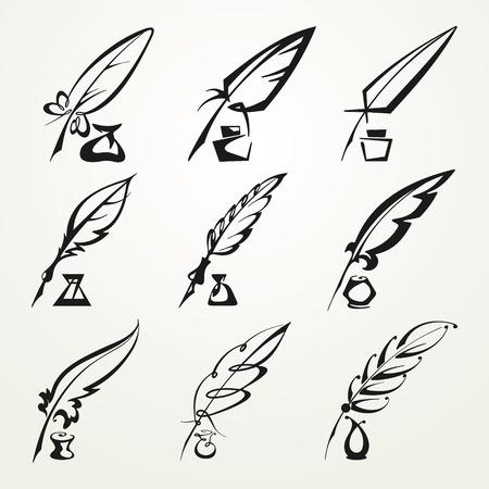 ensemble de stylo monochrome de plumes et encre