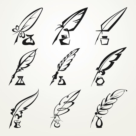 set of monochrome feather pen and ink