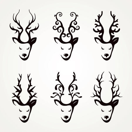 Set of stylized icons heads of deer Illustration