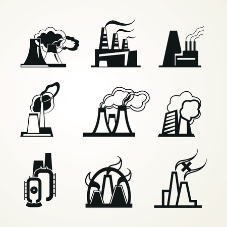 Set of monochrome icons  Industrial buildings  factories