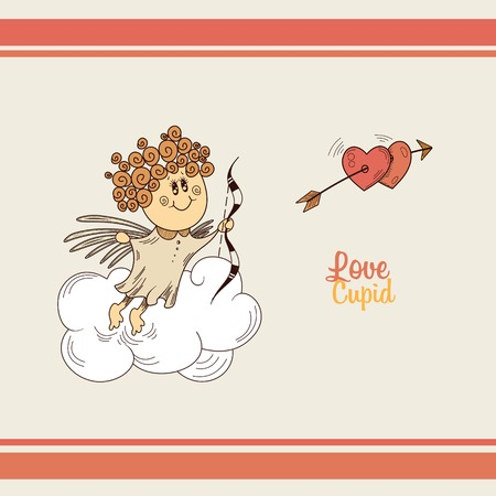 Cute cupid with a bow in the clouds Illustration