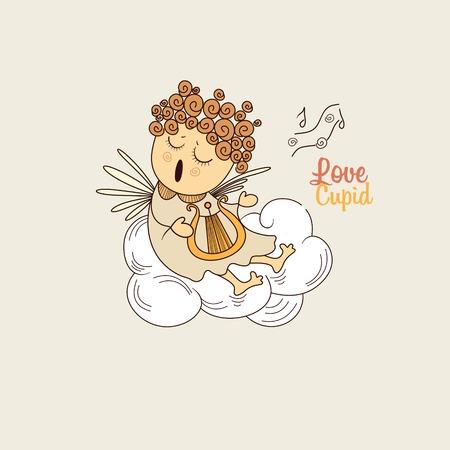 하프를 연주 구름 귀여운 천사