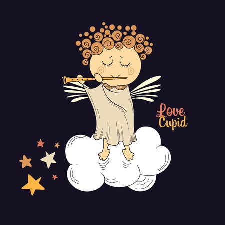 Cute angel in the clouds playing the flute