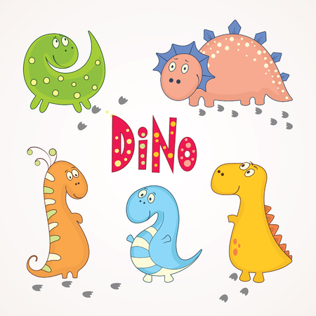 A cartoon illustration of different cute dinosaurs Vector