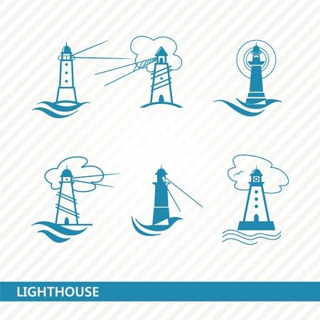 set of stylized lighthouses