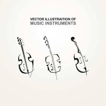 Stylized icons of stringed instruments Illustration
