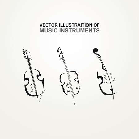 Stylized icons of stringed instruments Иллюстрация