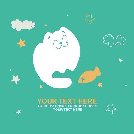 청록색 배경에 귀여운 고양이 인사말 카드 일러스트