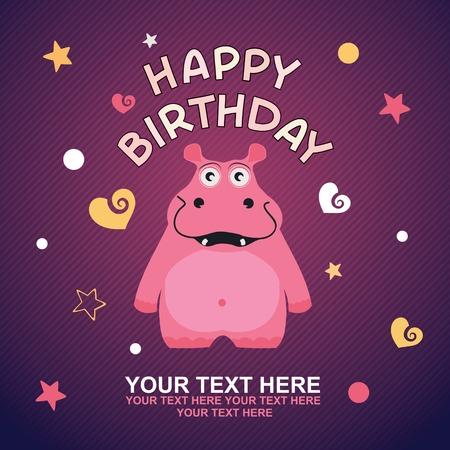 cute happy birthday card with fun hippo   일러스트