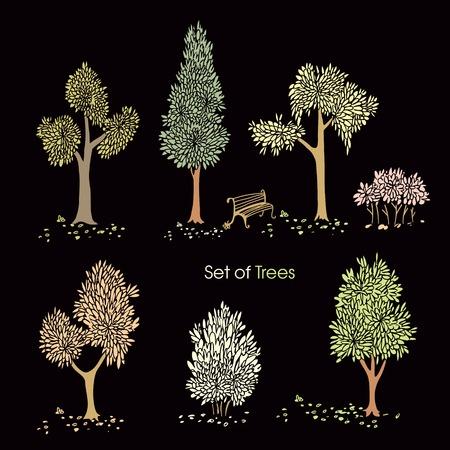 어두운 배경에 양식에 일치시키는 나무의 컬렉션