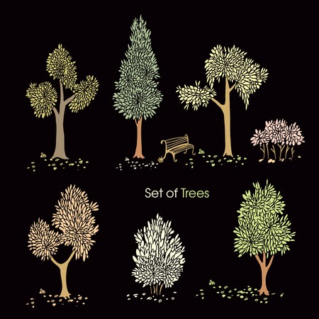 Collection of stylized tree on a dark background