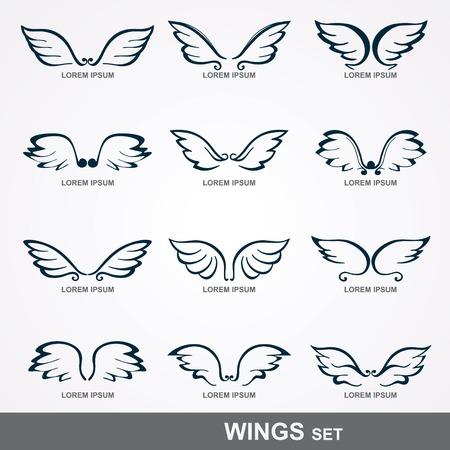 翼のセットの定型化された翼のコレクション
