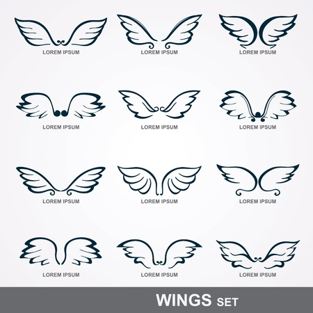 Collection of stylized wings   set of wings  Illustration