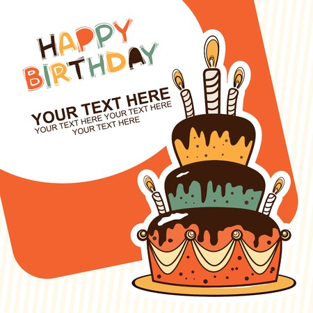 happy birthday with cake card   Vector