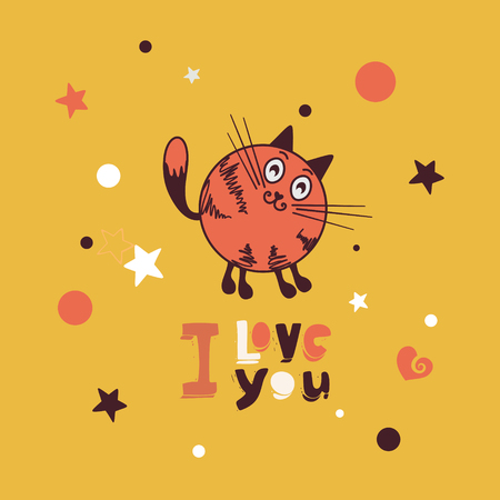 cat s: Postcard Valentine s Day cute cat Illustration