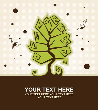 Card with stylized trees and birds with a place for your text