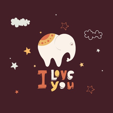 Greeting card with a cute stylized elephant Vector