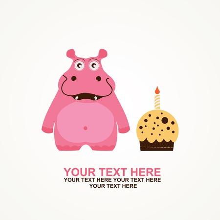 cute happy birthday card with fun hippo   Vector