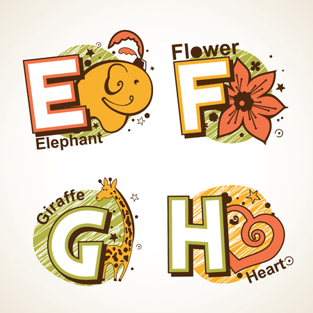 Alphabet set from E to H with a picture of
