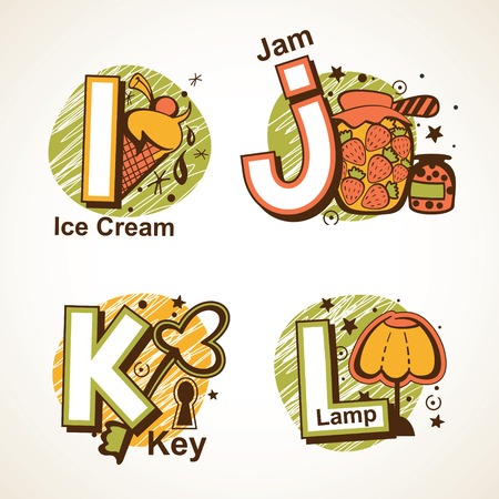 Alphabet set from I to L with a picture of  ice cream, jam, key and lamp